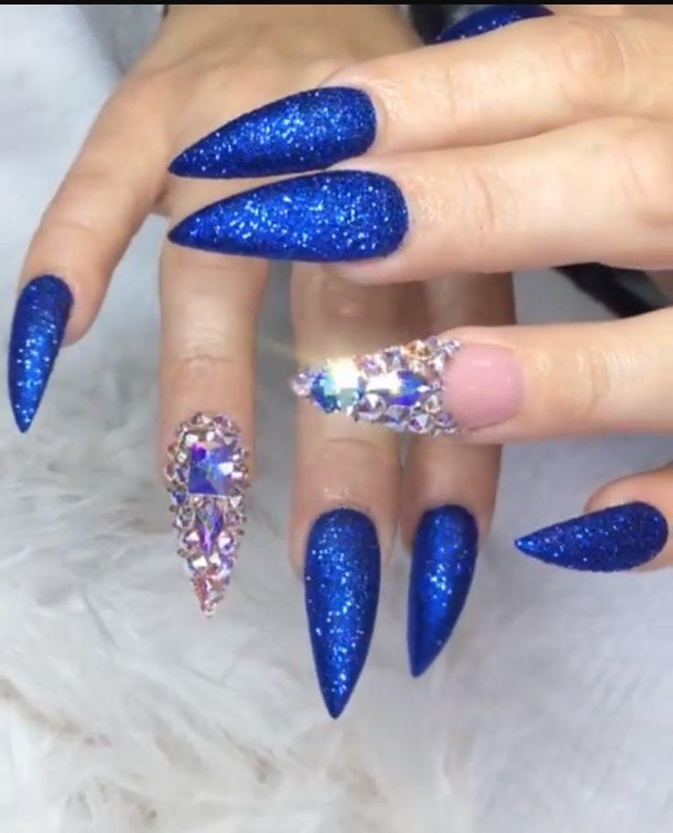 Best 25+ Blue glitter nails ideas on Pinterest