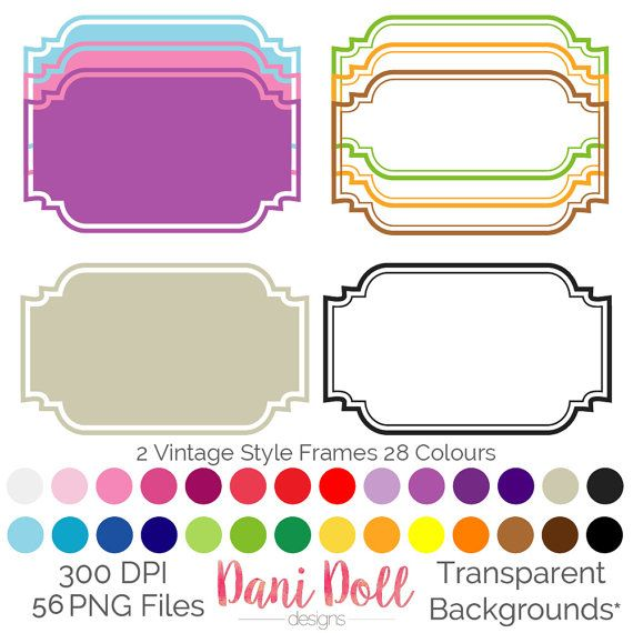 56 Vintage Style Frames Clipart Elements Coloured PNG 300 DPI Small Commercial Use Scrapbooking Clip Art instant Download by danidolldesignsx