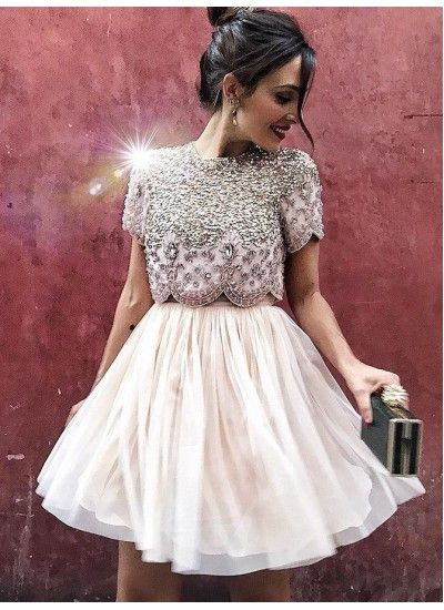 Comfortable Homecoming Dresses Two Piece, Champagne Party Dresses – Kleider