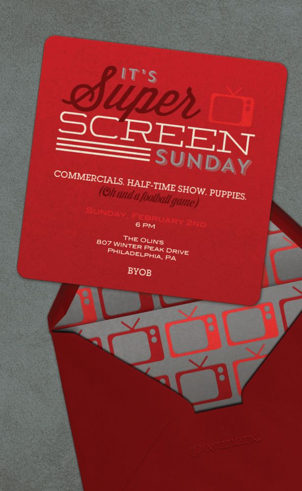 free evite photo invitations%0A Super Screen Sunday Invitation for a Superbowl Commercial Party from Evite  Postmark