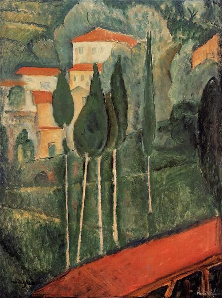 Landscape, Southern France, 1919 by Amedeo Modigliani. Expressionism. landscape. Private Collection
