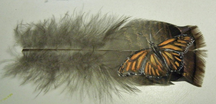 Hand Painted Monarch Butterfly on Turkey Feather