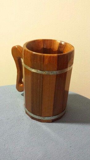 Hand crafted wood beer mug