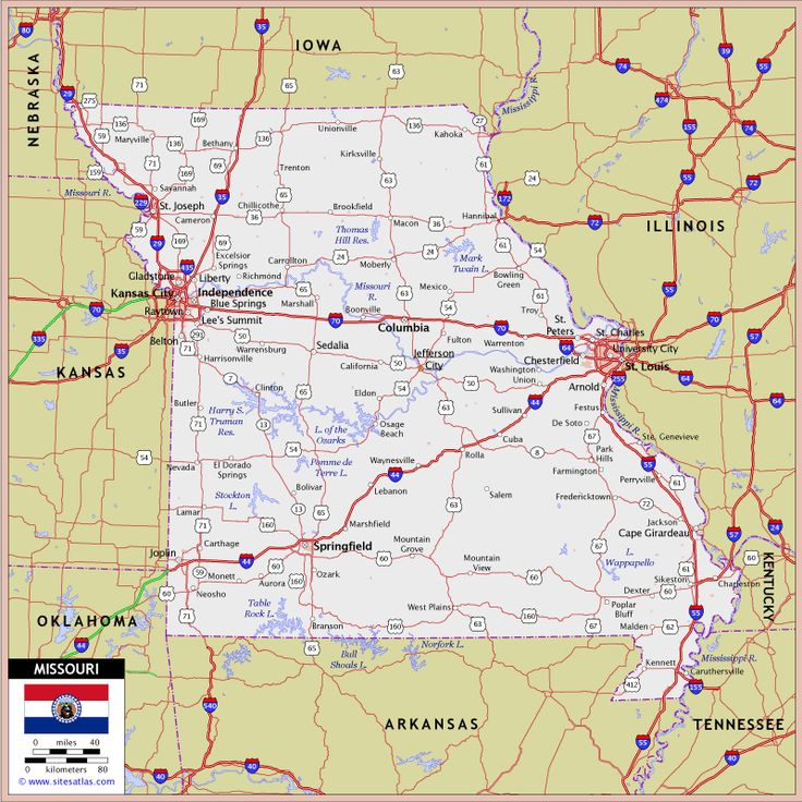 Missouri Highway And Road Map Raster Image Version World Sites - Highway map of missouri