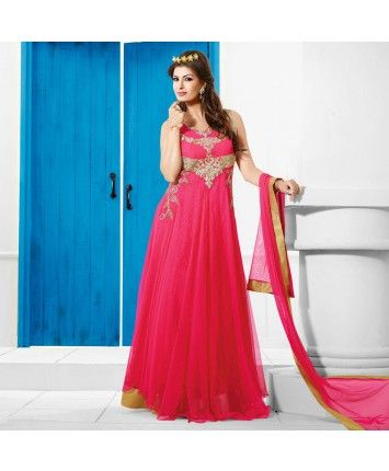 Stitched Pink Color Net Designer Gown  #ohnineone