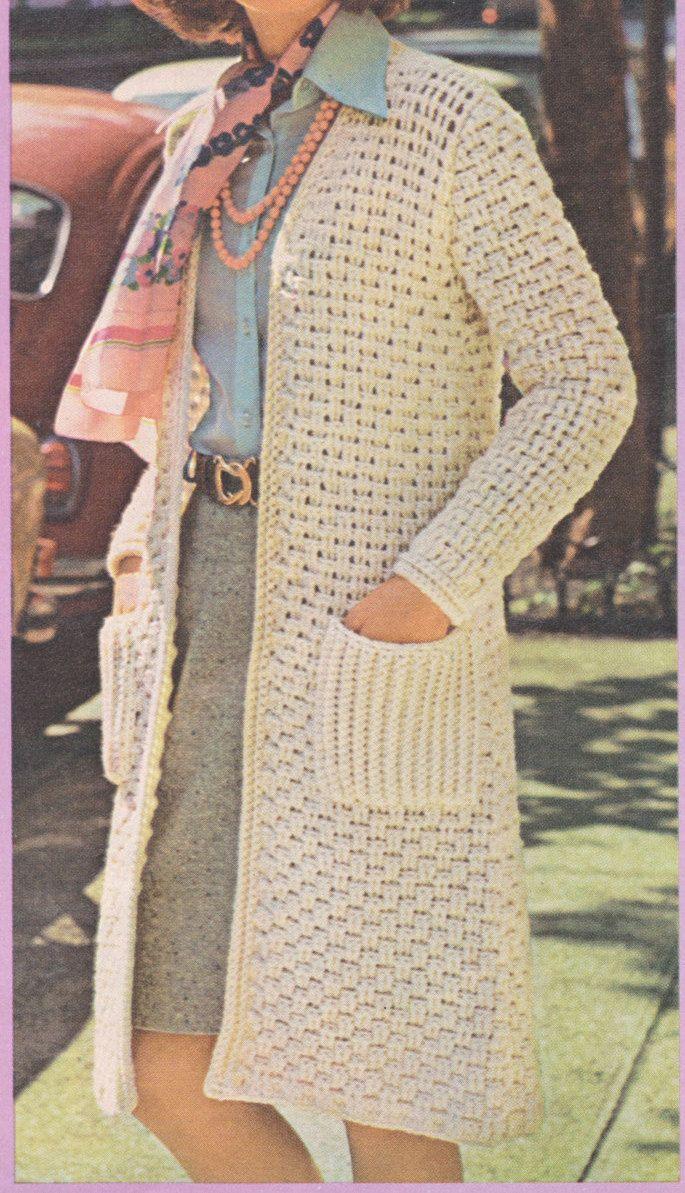 201 best ladies images on pinterest crochet granny crochet 100 pdf long sweater coat crochet pattern ladies long sweater with woven look size 10 12 14 16 vintage 1970s pdf download free pattern dt1010fo