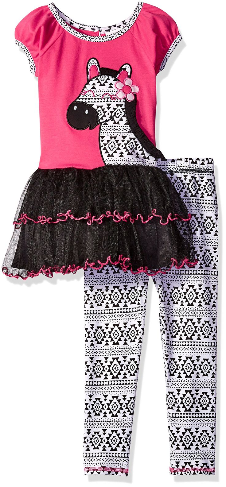 Youngland Little Girls' Tiered Zebra Tutu Tunic with Printed Knit Legging, Pink/Black/White, 2. Zebra applique with flower detail on bodice. Two tiers of mesh with print purl edge finish on skirt. Skirt is fully lined with crinoline attached. Functional center back button at nape and back ties for closure. Encased elastic around waist of legging.