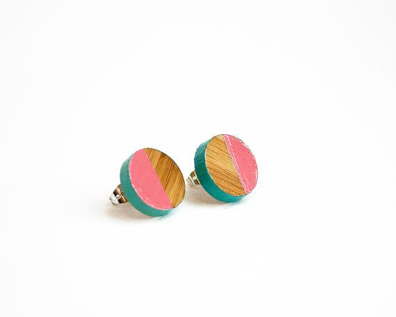 Round Geometric Wooden Earrings Hand Painted by HeartoftheHeart