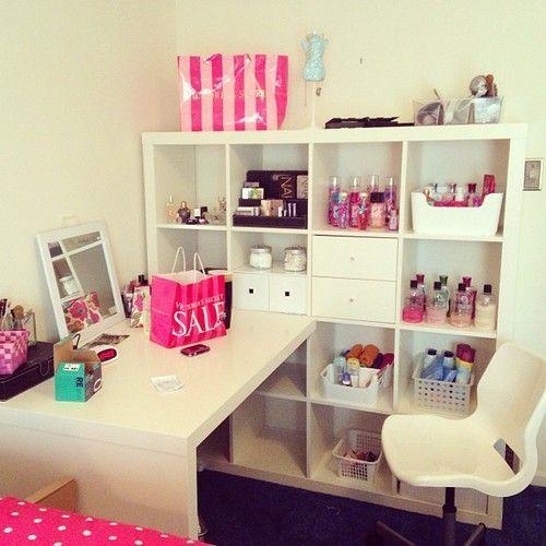 home, home office, lovely, girly, decor, pink, white, feminino, prateleiras, estante, pretty, bedroom, casa.