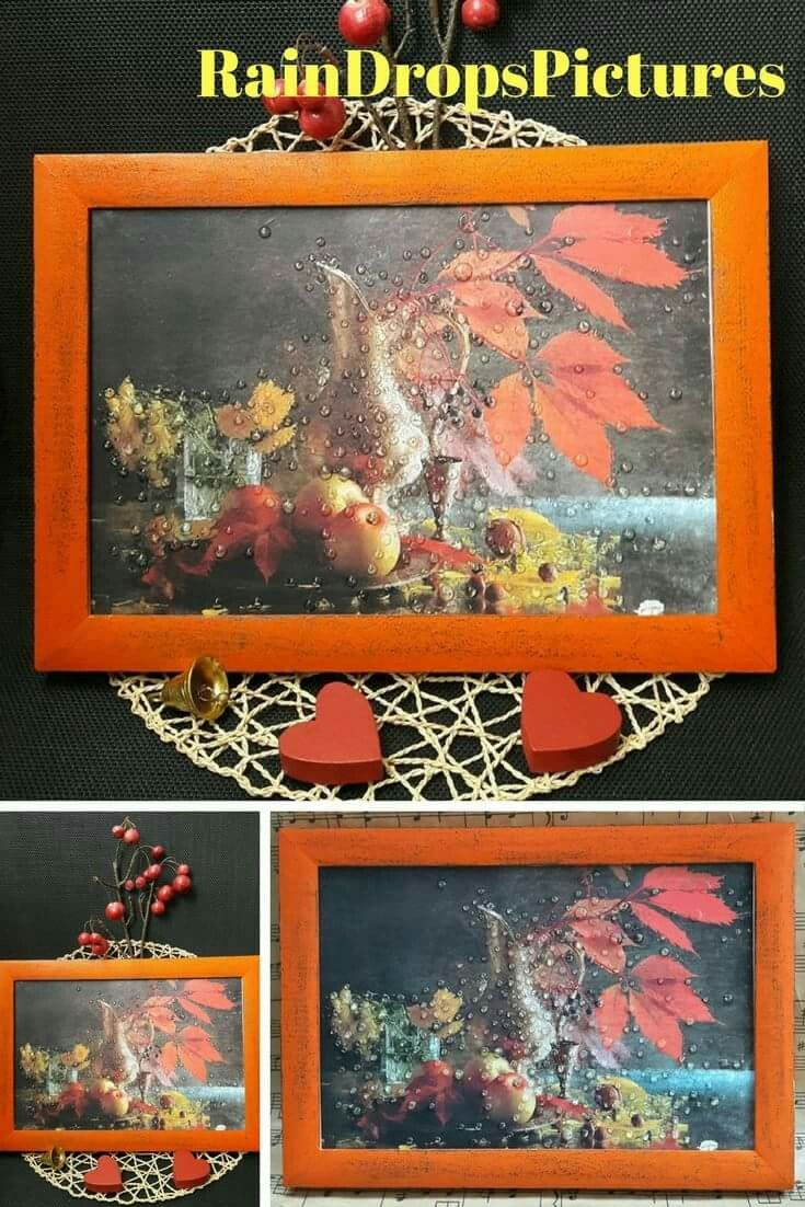 Rustic Home Fall Wall Decor picture frame No glass 3D rain drops Decoupage Autumn leaf picture Rustic Home Fall Kitchen picture Autumn leaf  #ideas #Сhristmas #gift
