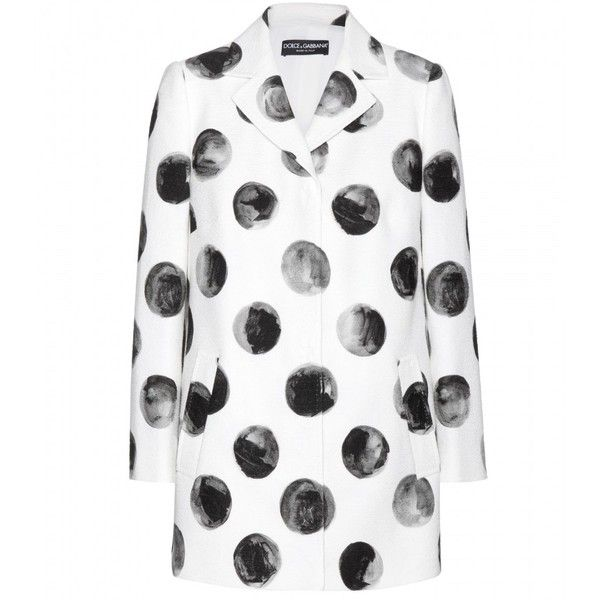 Dolce & Gabbana Cotton Jacket ($1,015) ❤ liked on Polyvore featuring outerwear, jackets, coats, tops, coats & jackets, white, white cotton jacket, polka dot jacket, white jacket and dolce gabbana jacket