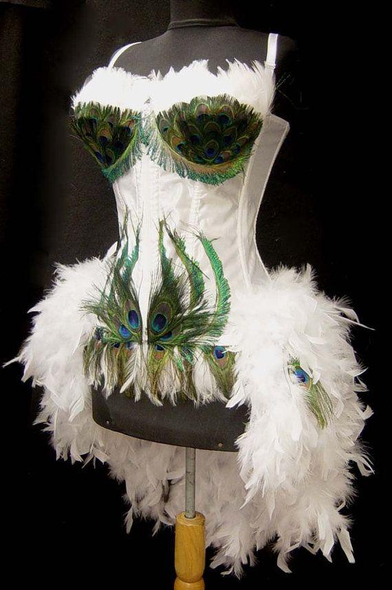 Size MWhite Peacock Showgirl Saloon Girl by FantasyMasquerades