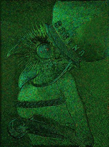 Jan Fabre, The Pot Calls the Kettle Black, 2012. Elytres de coléoptères sur bois, 227,5 x 173 cm, 89 5/8 x 68 1/8 in. Courtesy Jonathan Meese et Galerie Daniel Templon, Paris, © Jan Fabre/Photo Lieven Herreman
