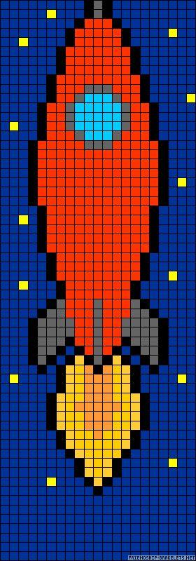 Rocket perler bead pattern could use as crochet pattern