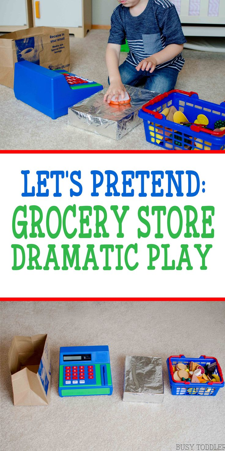Let's Pretend: Grocery Store Dramatic Play - Set up a fun imaginative play center for your toddler; a quick and easy dramatic play idea; simple home activity; #ad