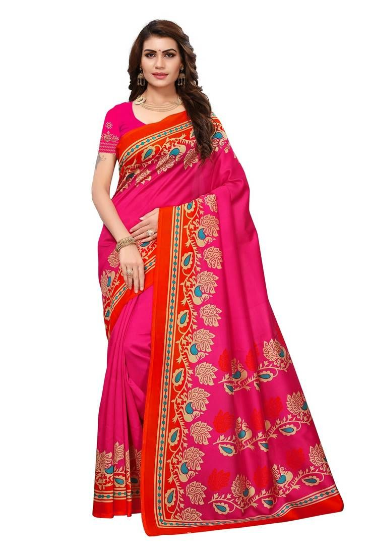 6511b764ee7 Pink printed art silk saree with blouse