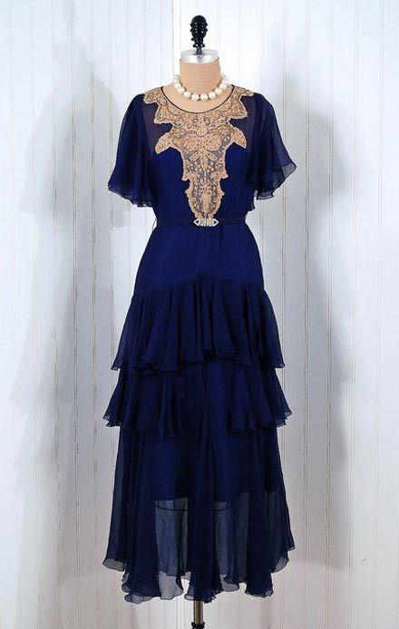 navy blue 1930's flutter dress…