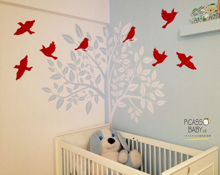 Trees and red little birds for our sweet 3 years old client!