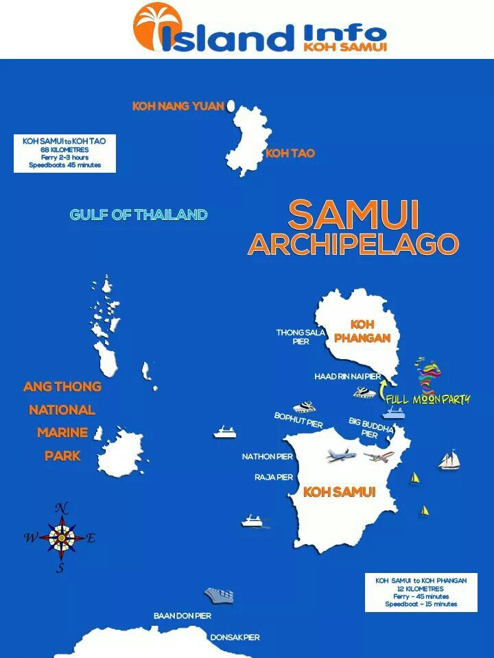 A map of the Samui Archipelago, Koh Nang Yuan is the most ...