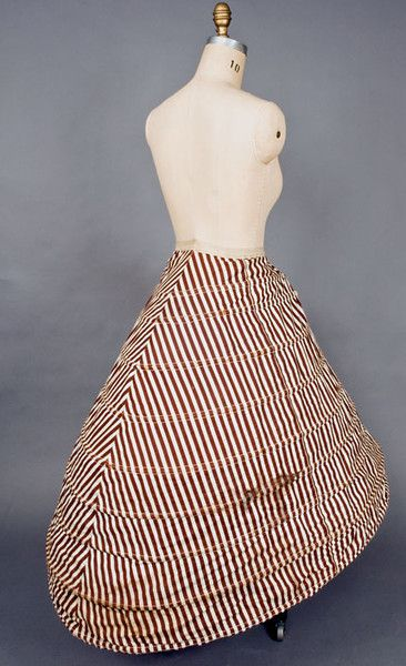 Brown & White Striped Hoop Skirt, 1860s