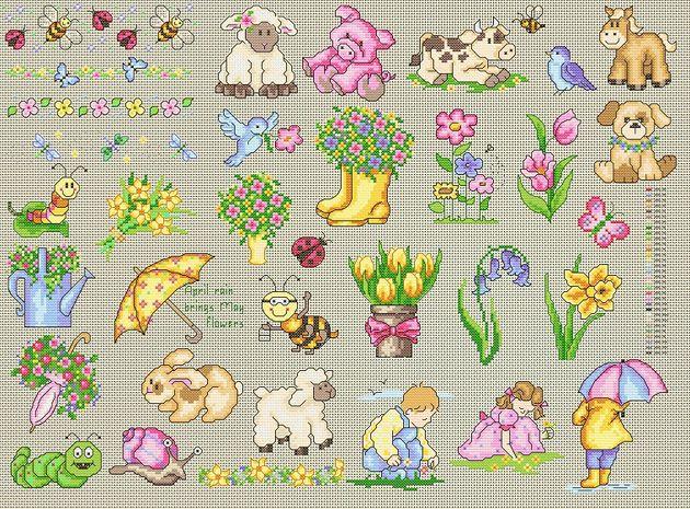 Maria Diaz Designs: Spring Mini Motifs (Cross-stitch chart)