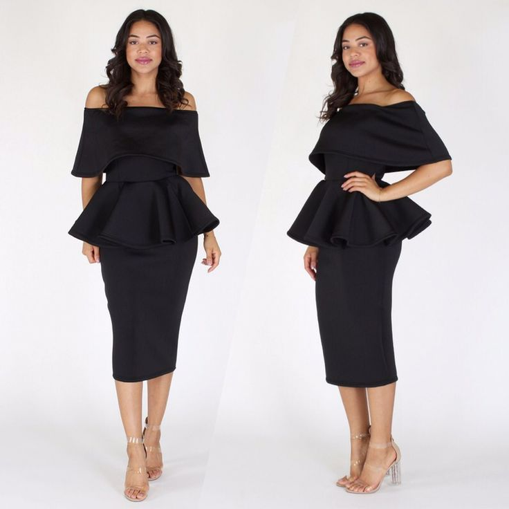 Black Off The Shoulder Plus Size Peplum Dress