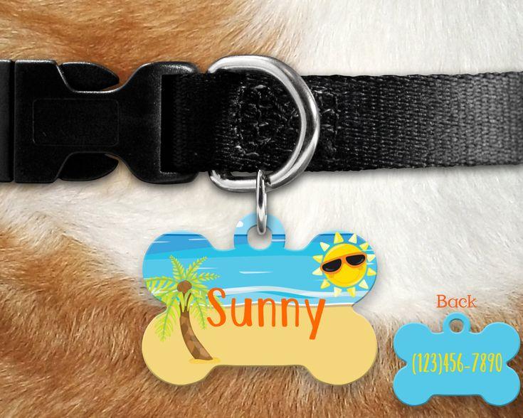 Sunny Beach Pet Tag /dog tag. 2 sided pet tag, personalized pet tag, aluminum pet tag, bone shape tag, custom pet tag, dog tag, beach tag by TwoDandelionsDesigns on Etsy