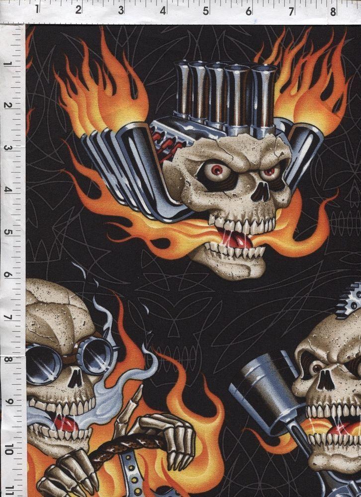 "Alexander Henry ""Mindblowers"" Skulls Motors Rockabilly Fabric #AlexanderHenryFabrics"