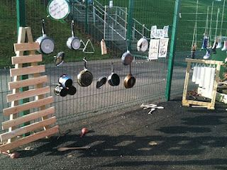 Teacher-child collaborative resulting in this interesting outdoor music wall.