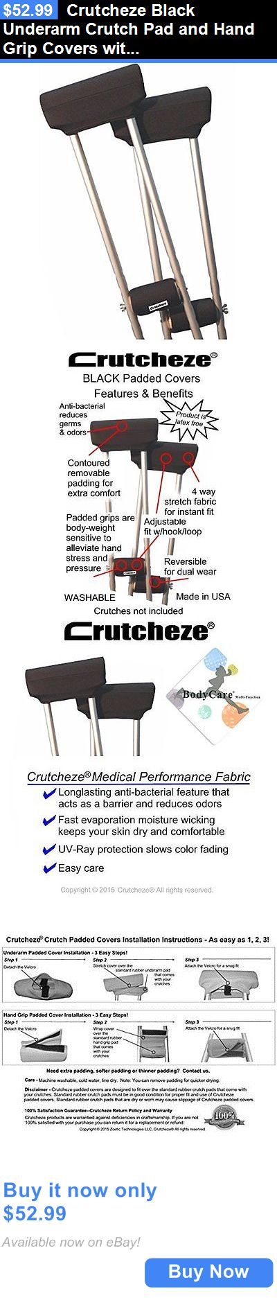 Crutches: Crutcheze Black Underarm Crutch Pad And Hand Grip Covers With Comfortable BUY IT NOW ONLY: $52.99