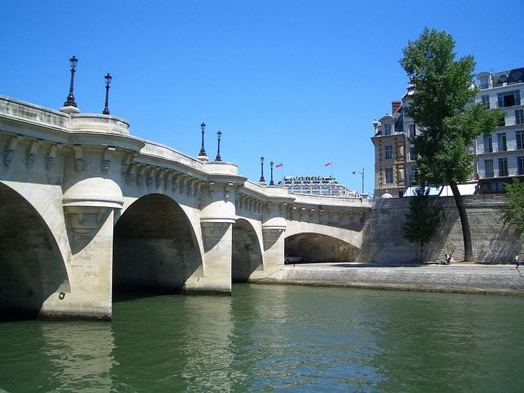 The Pont Neuf, is despite its name, the oldest standing bridge across the river Seine in Paris, France. Its name, which was given to distinguish it from older bridges that were lined on both sides with houses, has remained.  Standing by the western point of the Île de la Cité, the island in the middle of the river that was the heart of medieval Paris, it connects the Rive Gauche of Paris with the Rive Droite.