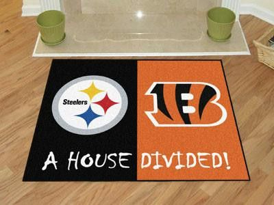Pittsburgh Steelers-Cincinnati Bengals NFL House Divided Rugs 33.75x42.5