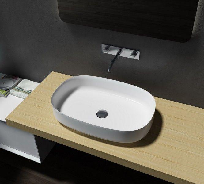 Mineralguss Aufsatzbecken Waschbecken Oval PB2123 - 60x40x13cm - Pure Acrylic günstig online kaufen