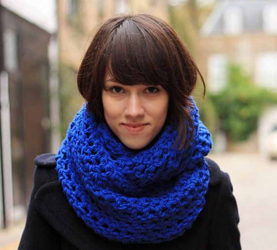 Infinity Scarf Chunky Scarf Snood Mens Womens Fall Winter Circle Scarf Royal Blue