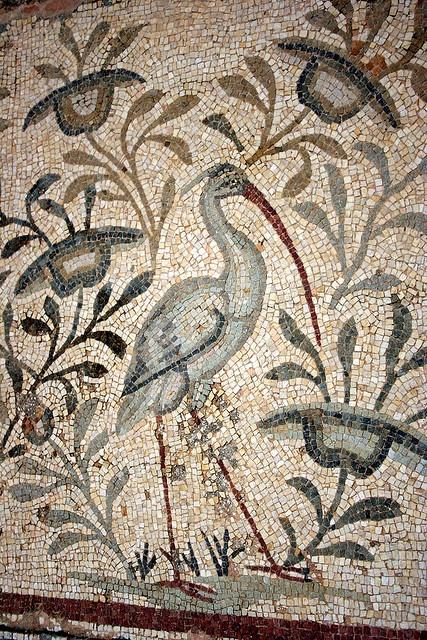 Roman Mosaic of a Stork, Villa Silene, near Leptis Magna, Libya - Mosaico romano di una cicogna ( © Libyan Soup, Flickr )  #bird #uccello #libia