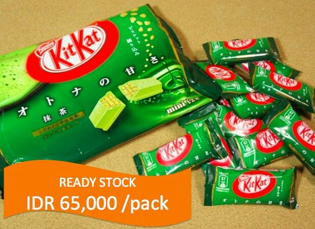 READY STOCK KITKAT Green Tea by Nestle  IDR 65,000 /pack(isi 12pcs; 2bar/pcs)  ORDER: 081932725242 / 7D309A17  belanjasnack@gmail.com  LIKE us: www.facebook.com/belanjasnack www.facebook.com/blanjasnack  FOLLOW us: Path: belanjasnack Twitter: @belanjasnack Instagram: belanjasnack  Salam Snackers