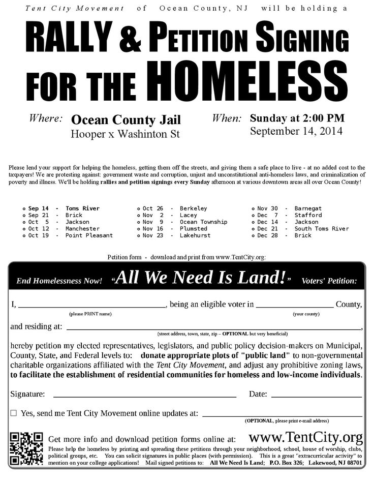 Please join the Ocean County chapter of the Tent City Movement for this first regular Sunday afternoon petition drive, kicking off in downtown Toms River at 2:00pm!  We'll be standing at the intersection of Hooper Ave and Washington St, next to the Ocean County Jail. Please come by 2PM and stay as long as you can!  Please invite your friends  - https://www.facebook.com/events/1471992203075766  Print flyer PDF - http://tentcity.org/nj/ocean/dl/doc/flyers/20140914-TomsRiver.pdf