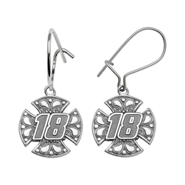 Insignia Collection Nascar Kyle Busch Sterling Silver 18 Maltese Cross Drop Earrings, Women's, Grey