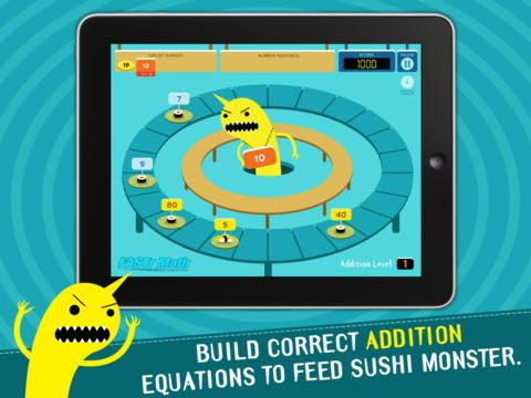 Meet Sushi Monster! A game to practice, reinforce, and extend math fact fluency is completely engaging and appropriately challenging.   FREE k-5