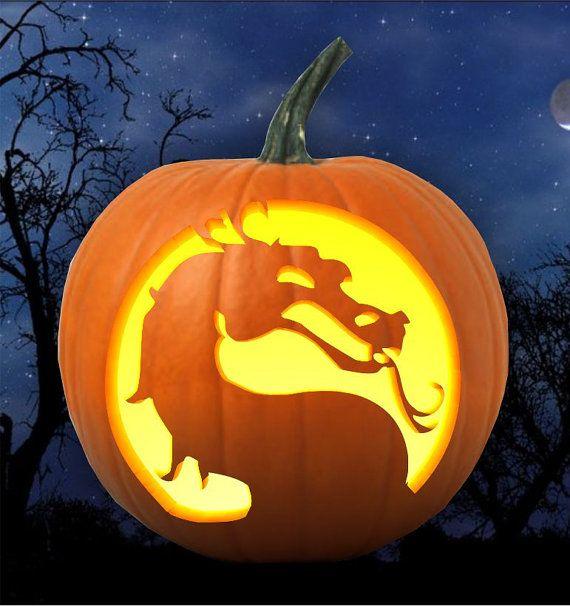 Mortal kombat logo pumpkin carving pattern stencil by