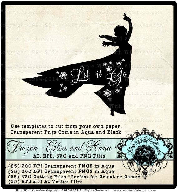 Frozen SVG Frozen Silhouettes Anna SVG Elsa SVG by withwildabandon