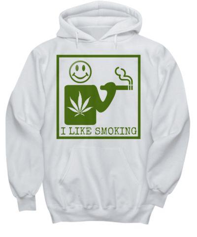 I Like Smoking Hoodie - White w/ Green Square Logo  #weed #hoodies #cannabis