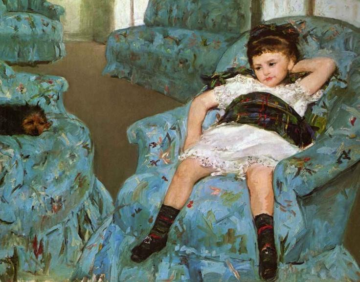 Little girl in blue armchair mary cassatt for Small blue armchair