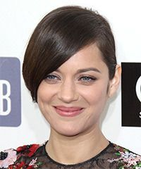 Marion Cotillard Long Straight Formal Updo Hairstyle – Chocolate Brunette Hair Color