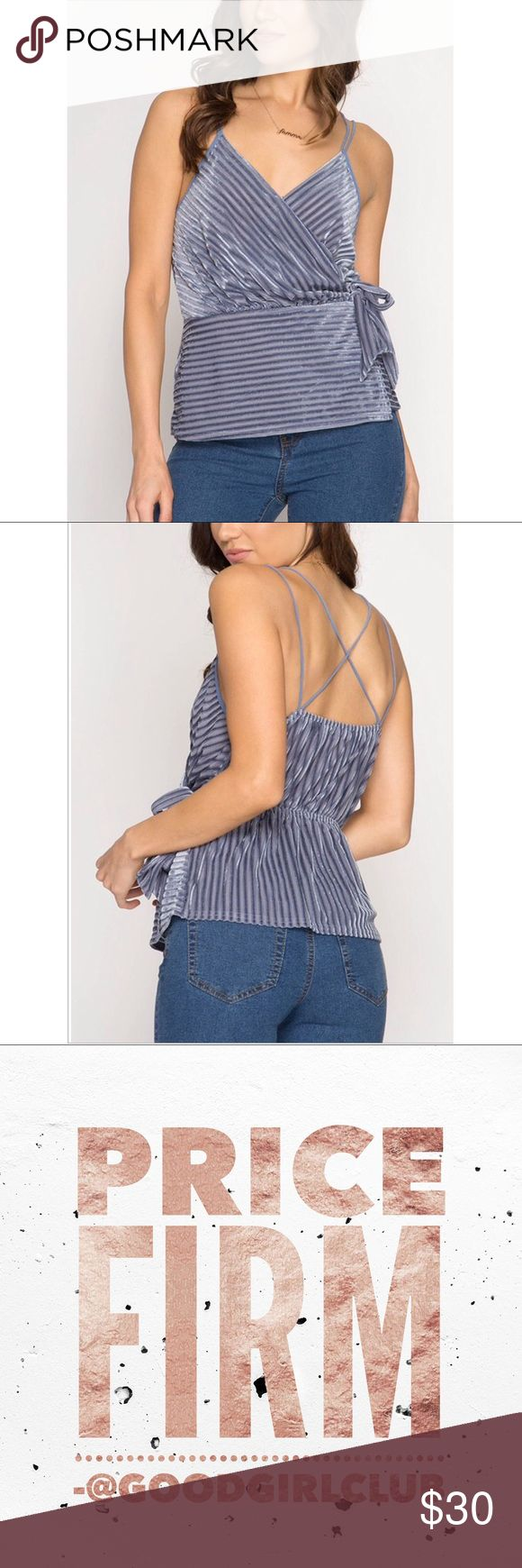 BURN OUT VELVET STRIPED CAMI TOP WITH SIDE TIE BURN OUT VELVET STRIPED CAMI TOP WITH SIDE TIE   S:65%COTTON 35%RAYON  KNIT TOP IMPORTED  ❌PRICE FIRM❌ ❌NO TRADES❌  ⚜️INSTAGRAM: @SHOP_GOODGIRLCLUB ⚜️TWITTER: @_GOODGIRLCLUB Tops