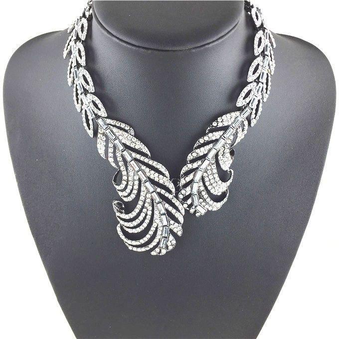 Necklaces : Leaf Rhinestone Collar