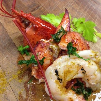 Curry Oil and Celery Leaves Grilled Lobster