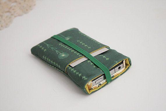 Stof telefoon Case kaarthouder - Cover - opslag - elastiek - exclusieve eigen geïllustreerde weefsel ontwerp - veld van de mobiele telefoon van bloemen