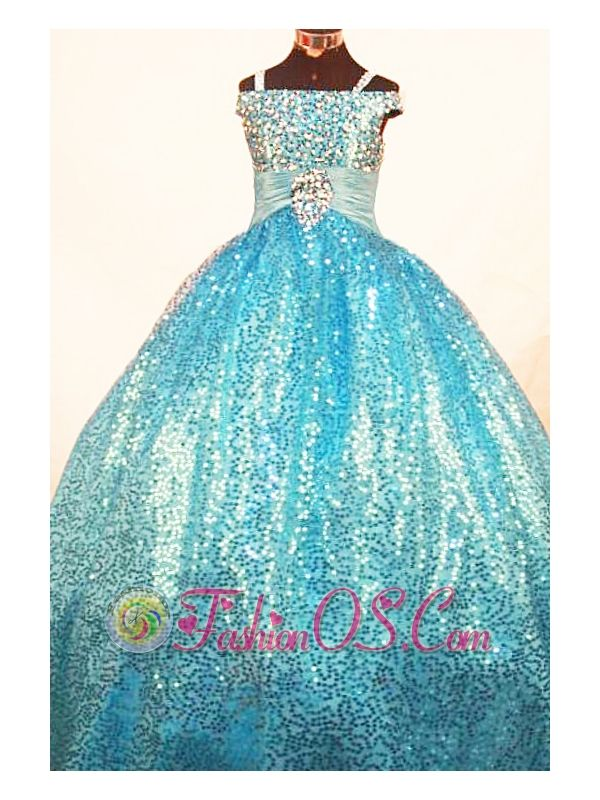 Brand New Paillette Over Skirt Ball Gown Strap Teal Little Girl Pageant Dresses  http://www.fashionos.com  http://www.facebook.com/fashionos.us  Sparkly Unique Fashion Pageant Dress!Sequins soft tulle ball gown with princess sleeves has heavily beaded bodice. It has ruched waist band with stoned brooch in the middle. This shining pageant dress will make your special day even brighter.