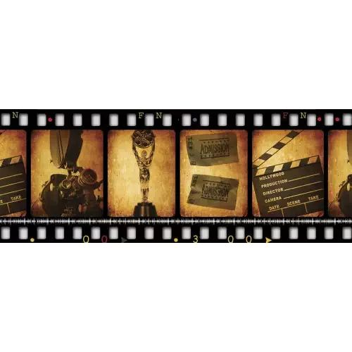 JP London MD91050UMB Prepasted Ultimate Retro Filmstrip Movie Night Panoramic Wall Mural at 10.5-Feet wide by 4-Feet high